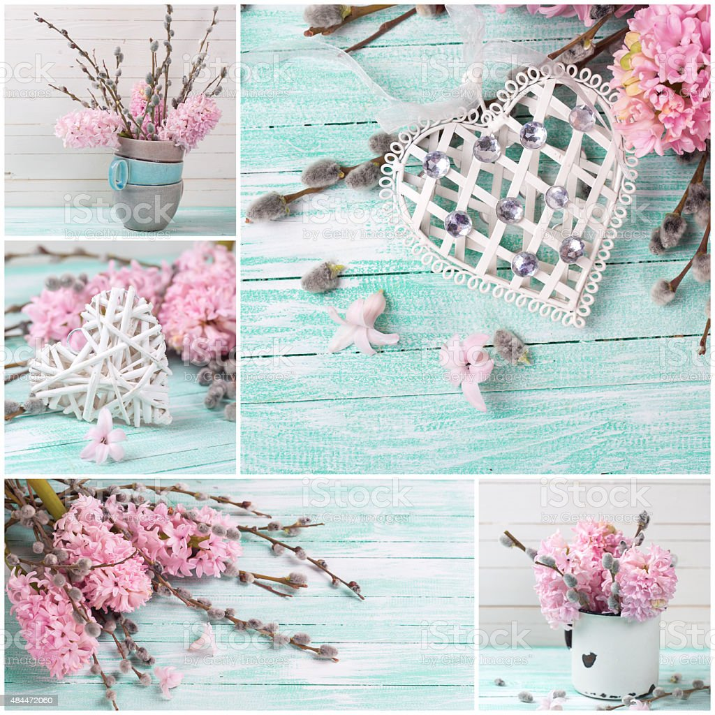 Collage from photos with with hyacsnths,  willow and decorative stock photo