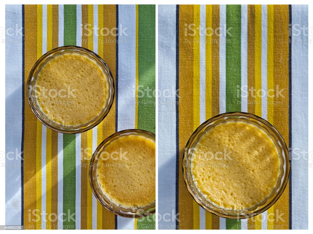 Collage from two vertical images of Homemade Crème Brûlée stock photo