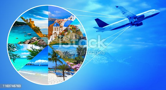 istock Collage from views of the Caribbean beaches 1163746763