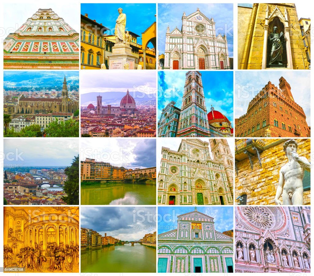 Collage from views of the Florence, Italy stock photo