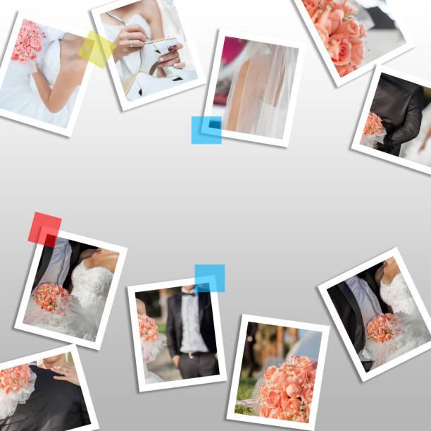 collage von hochzeitsfotos - goldhochzeitsschuhe stock-fotos und bilder