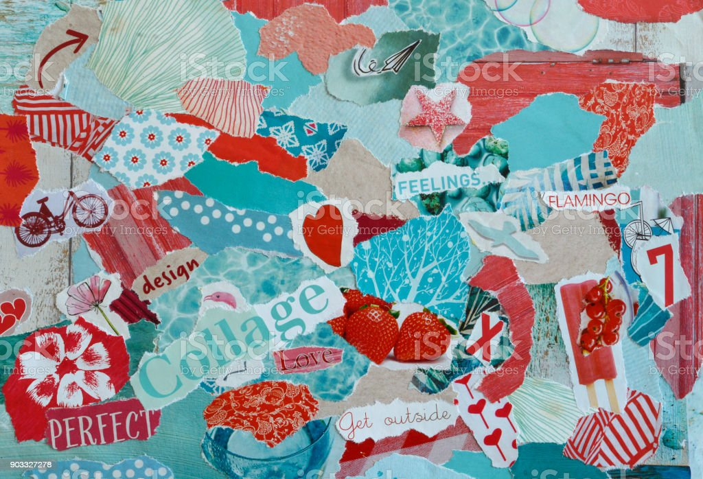 collage mood board with  blue, red, pink colors  with hearts, fruits, flowers and prints stock photo