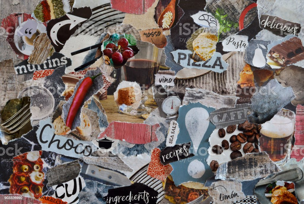 collage mood board with natural organic  food concept with restaurant, wine, pizza, coffee, chocolate,and pasta elements