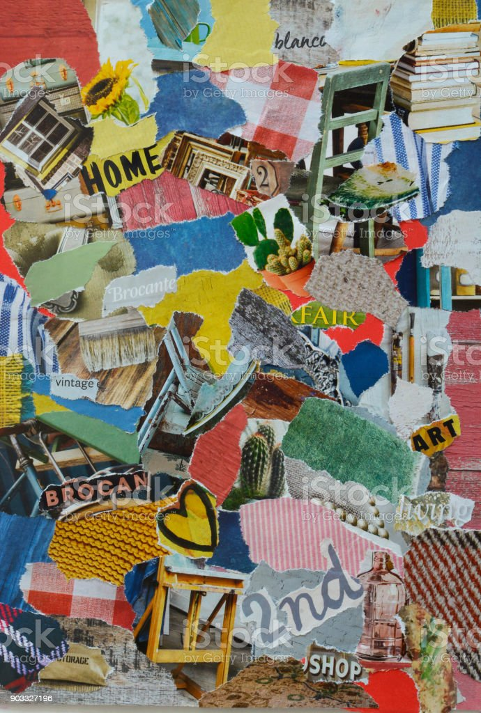 collage mood board with retro vintage elements at the second hand ,flew market fair stock photo