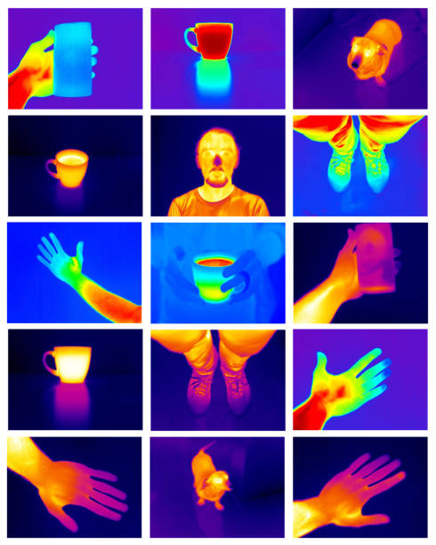 Collage of 15 various 320x240 pixels big thermal images. stock photo