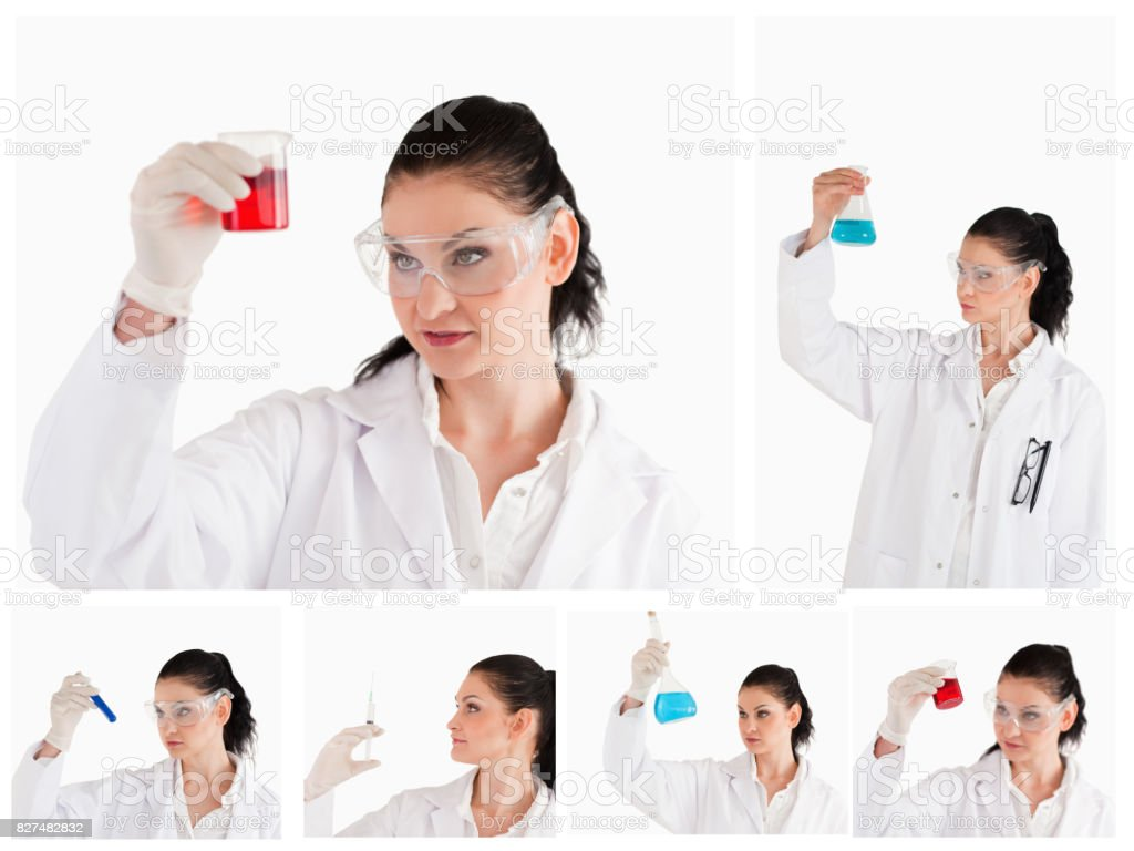 Collage of a female scientist looking at a red test tube and a beaker stock photo