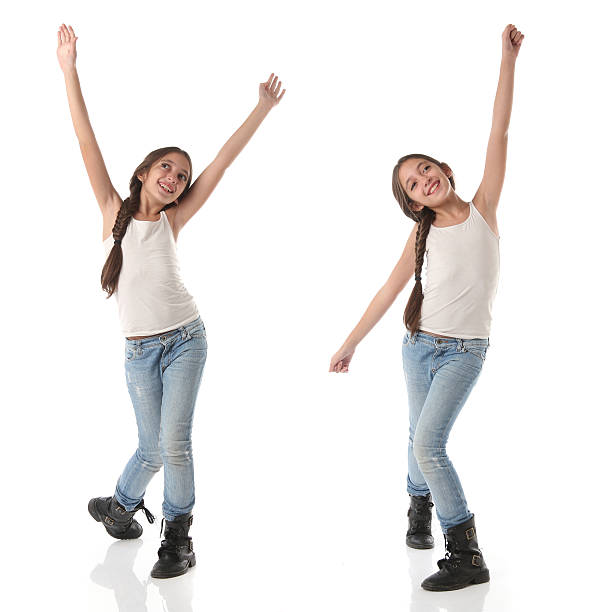 Collage of a lovely young girl doing a happy dance stock photo