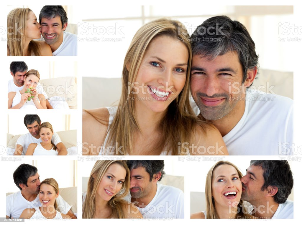 Collage of a middleaged couple enjoying the moment stock photo