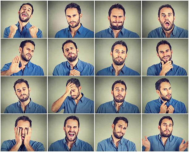 collage eines jungen mannes, der verschiedene emotionen ausdrückt - gestikulieren stock-fotos und bilder