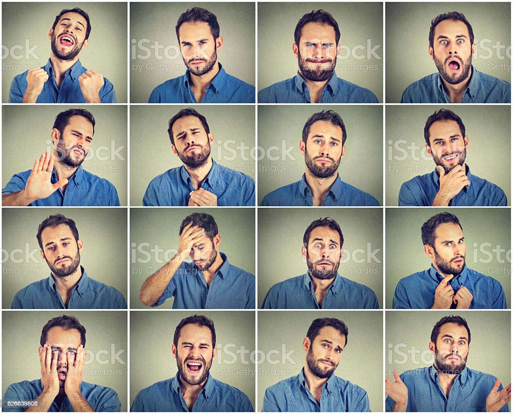 Collage of a young man expressing different emotions​​​ foto
