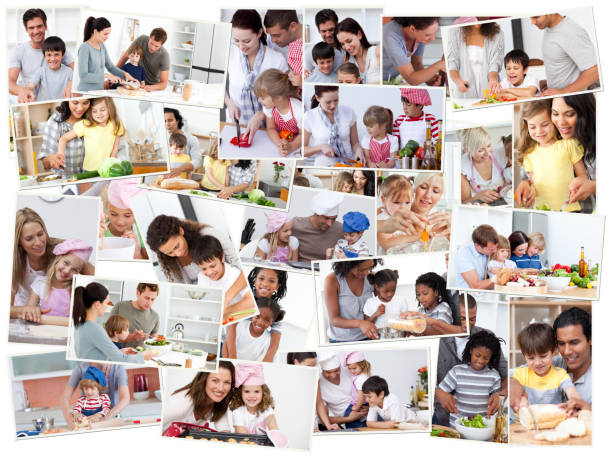 Collage of adults cooking with their children stock photo