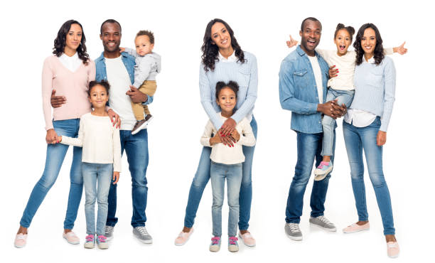 Collage of african american family isolated on white - fotografia de stock