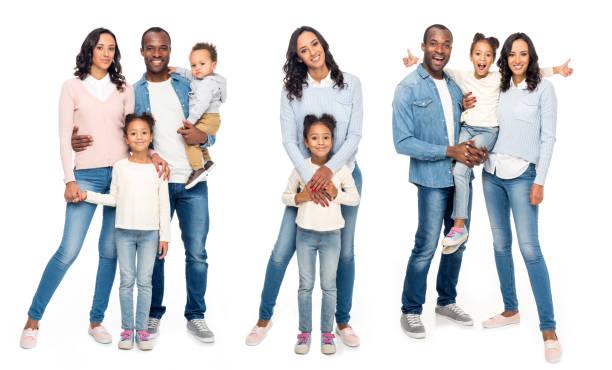 Colagem de família afro-americana isolada no branco - foto de acervo