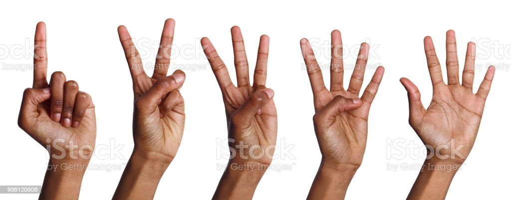 Collage Of Africanamerican Hands Counting Stock Photo