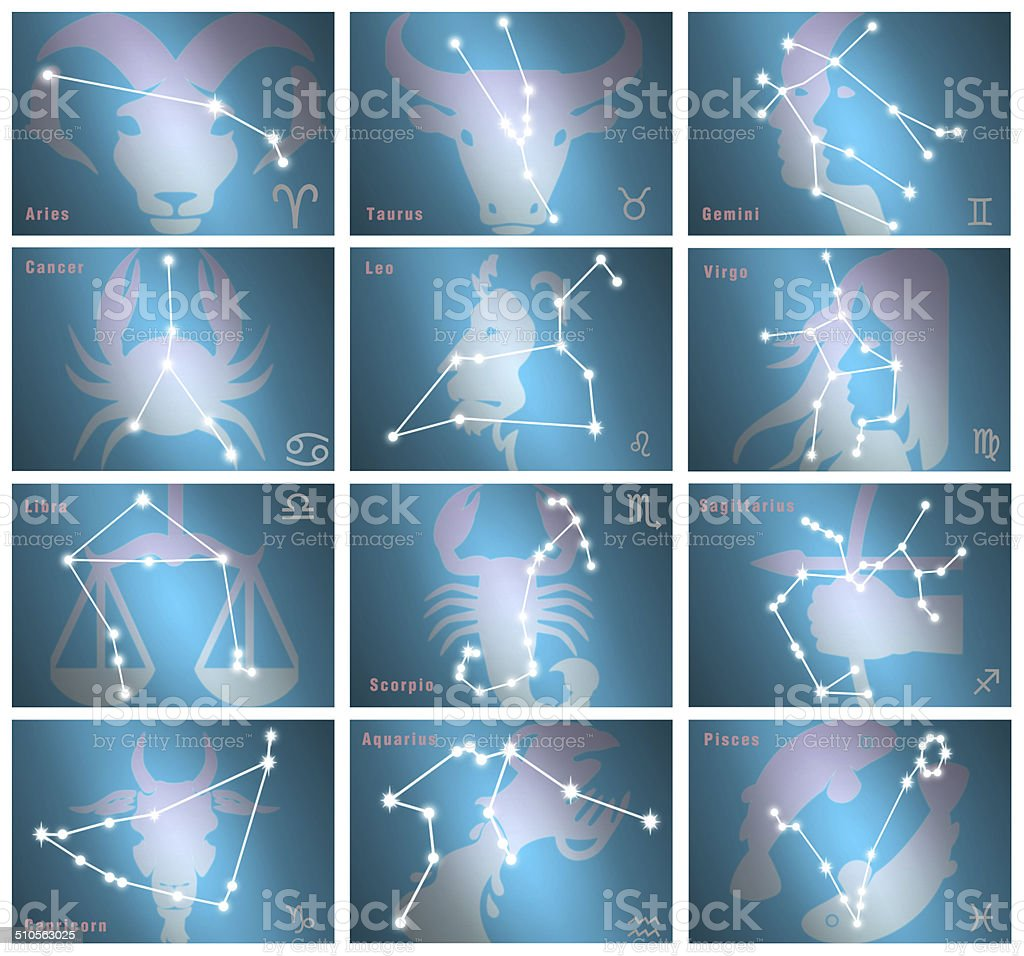 Collage of all 12 zodiac signs stock photo