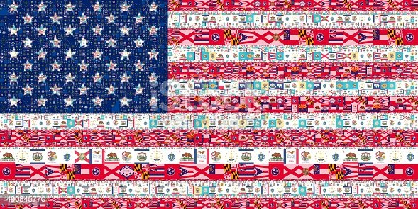 istock Collage of America flag from the flags of all States 490845770