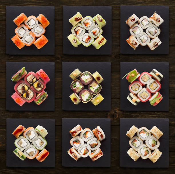 寿司盛り合わせのコラージュを設定します ストックフォト