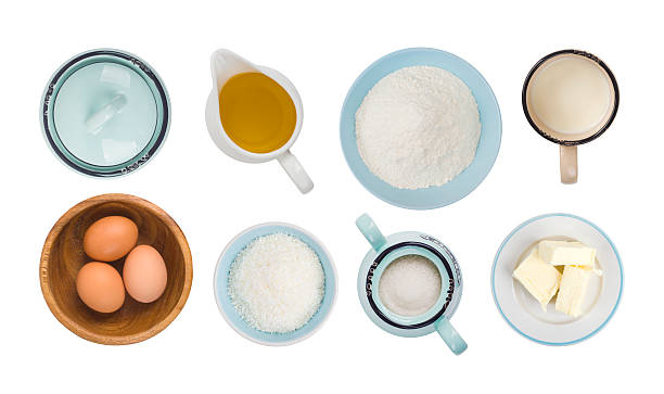 collage of baking ingredient objects isolated on white, top view - 材料 個照片及圖片檔