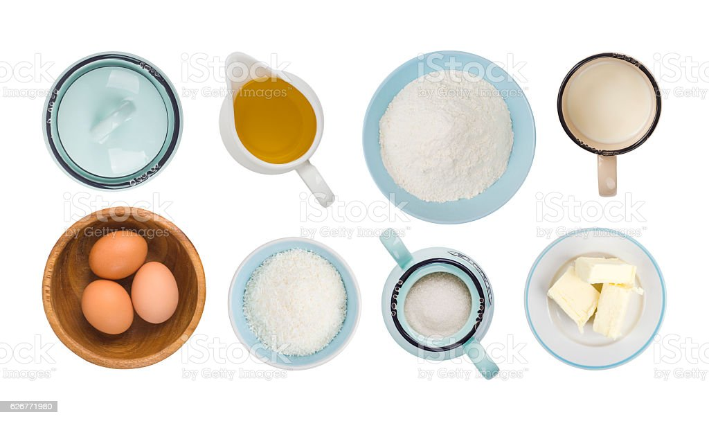 Collage of baking ingredient objects isolated on white, top view stock photo