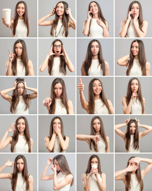 Collage of beautiful girl with different facial expressions stock photo