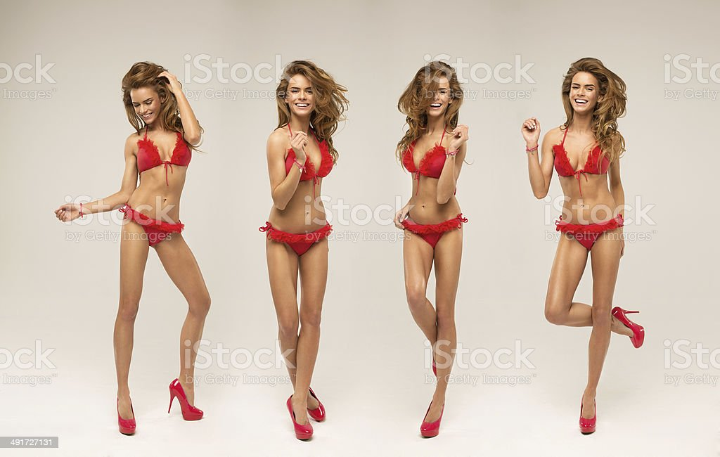 Collage of beautiful smiling blond model stock photo