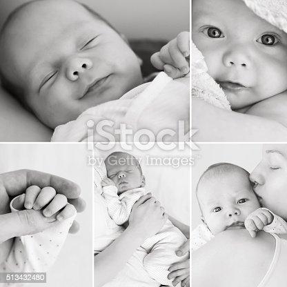 525959168 istock photo Collage of black and white newborn baby's photos 513432480