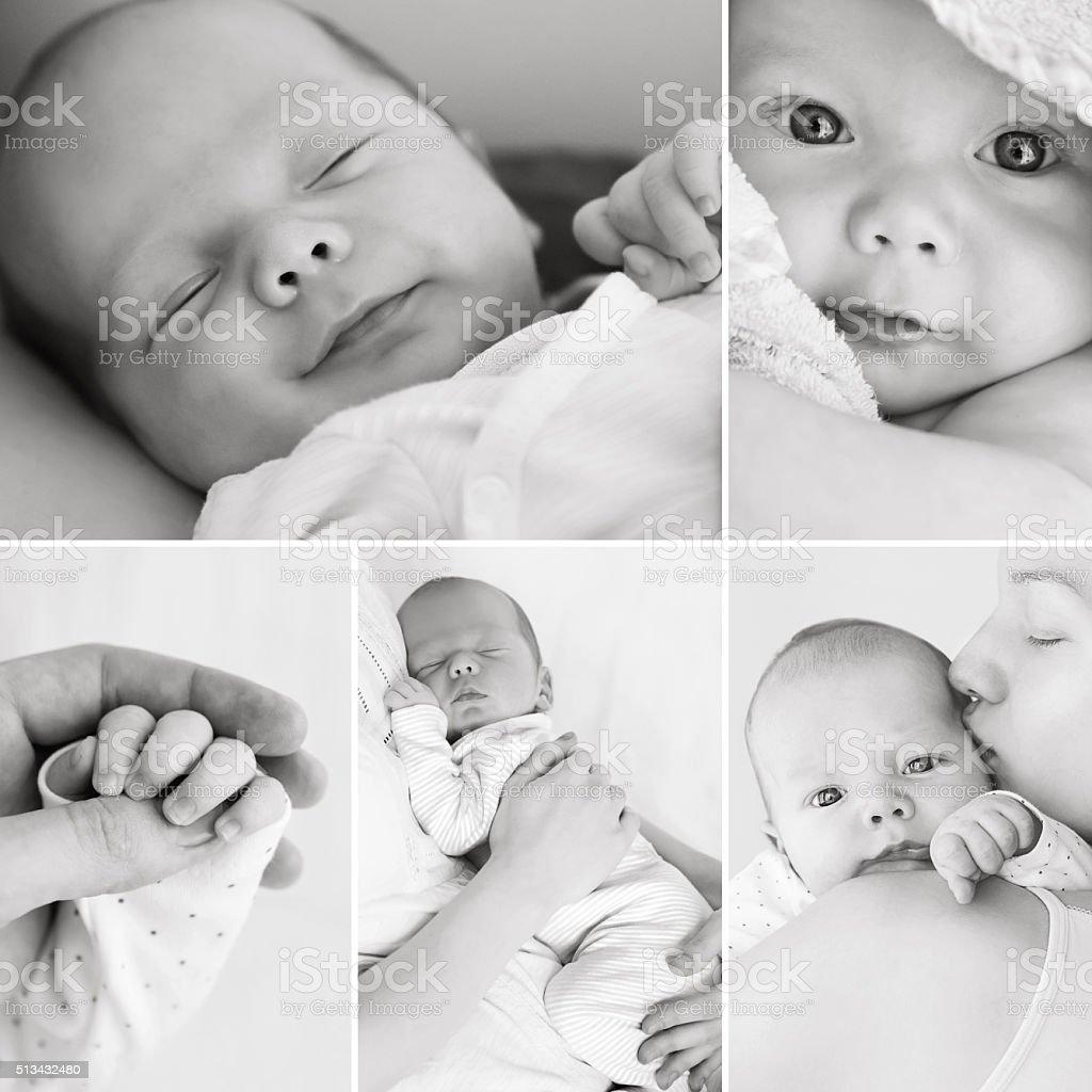 Collage of black and white newborn baby's photos stock photo