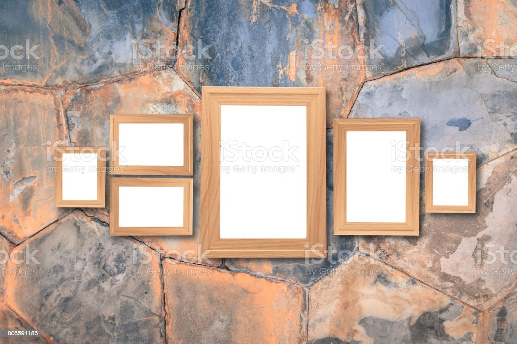 Collage Of Blank Brown Wooden Frames Interior Decor Mock Up On Marble Wall Vintage Style Stock Photo Download Image Now Istock