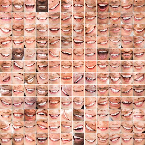 Collage of bright smiles - foto stock
