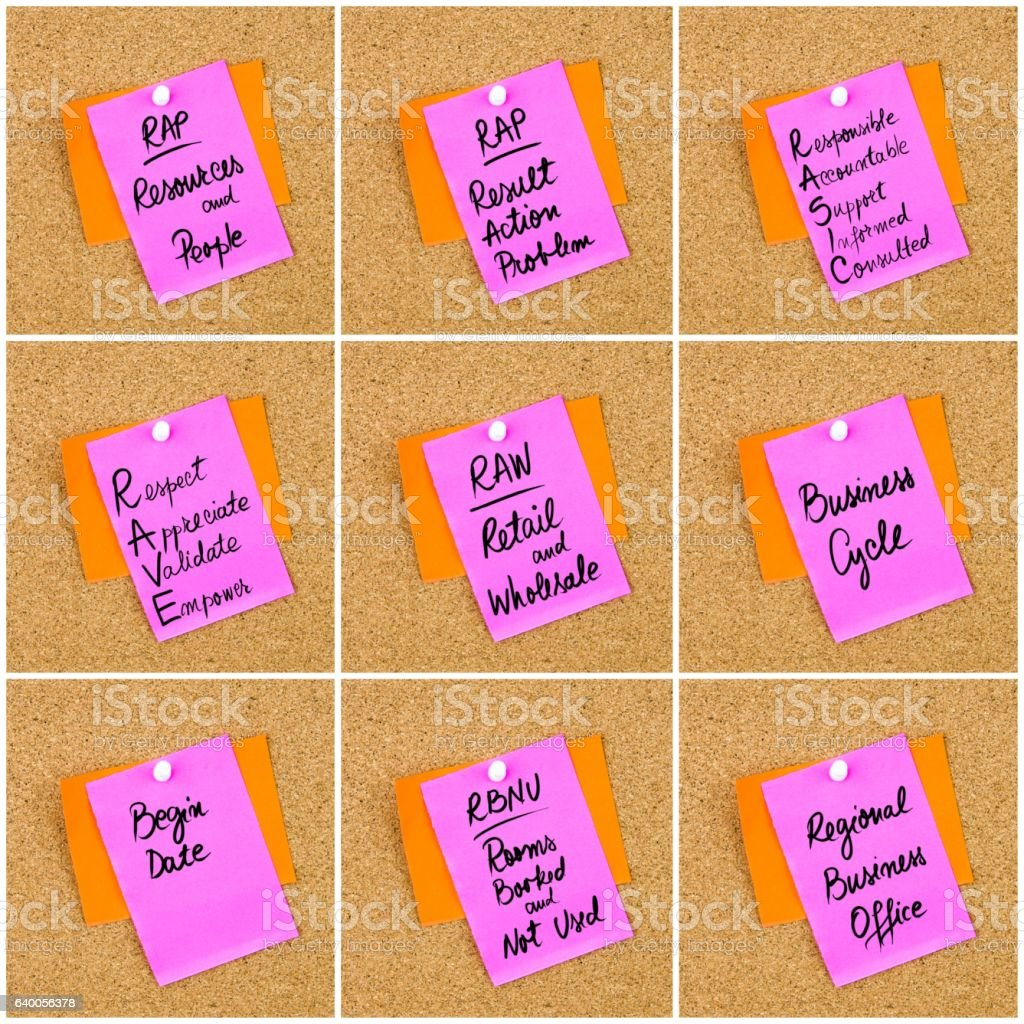 Collage of Business Acronyms written on paper note stock photo