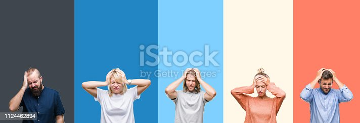 istock Collage of casual young people over colorful stripes isolated background suffering from headache desperate and stressed because pain and migraine. Hands on head. 1124462894