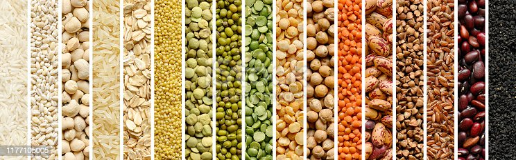 istock Collage of Cereals and legumes food background 1177105005