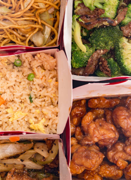 Collage of Chinese Food in Take Out Containers Collage of Chinese Food in Take Out Containers chinese takeout stock pictures, royalty-free photos & images