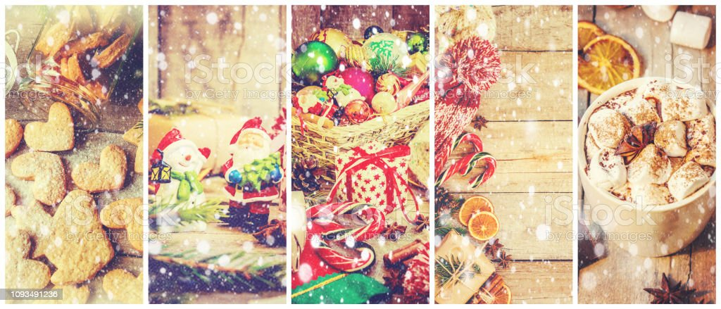 collage of Christmas pictures. Selective focus. holiday.