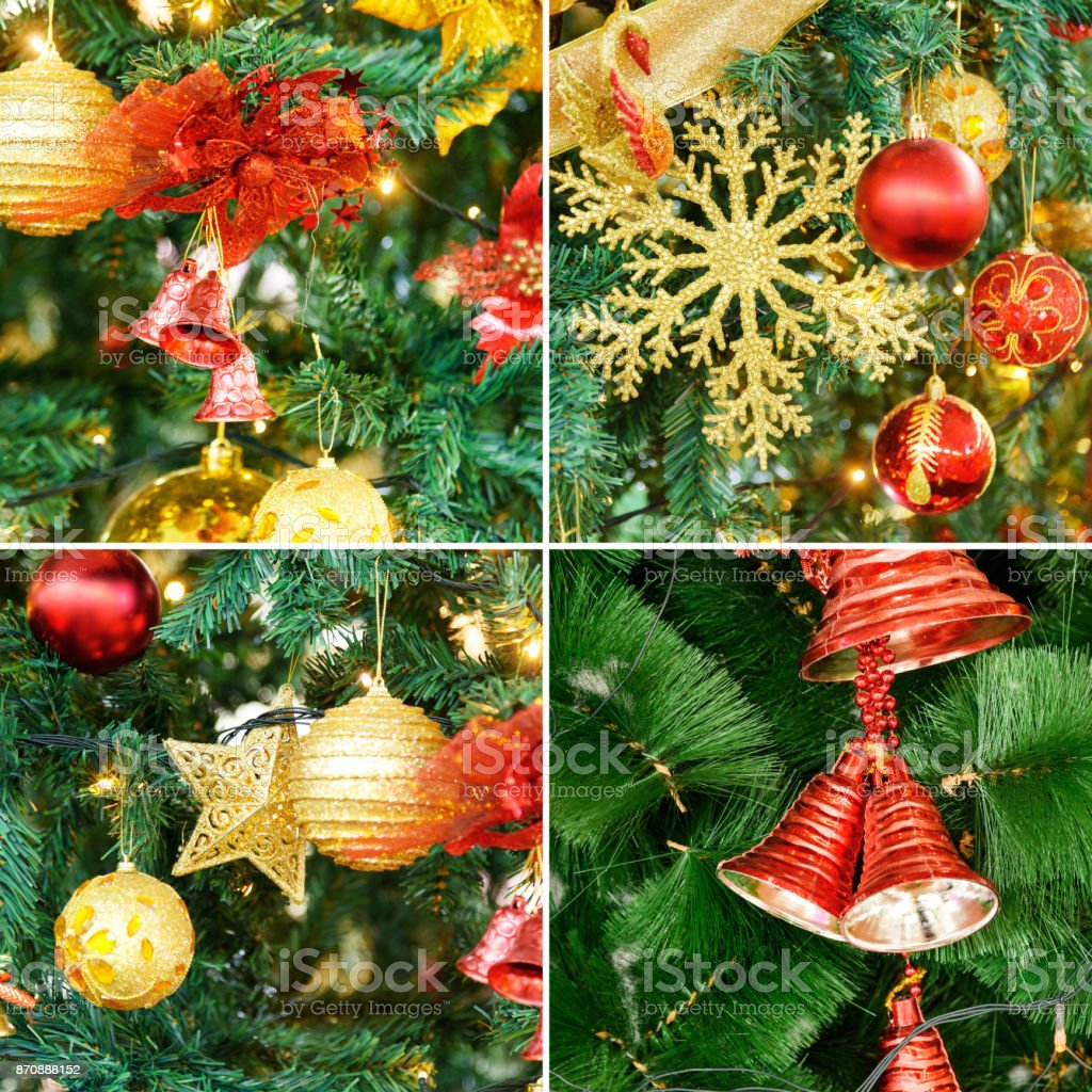 Collage Of Christmas Tree Decoration Stock Photo More Pictures Of