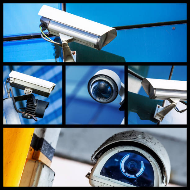 collage of closeup security cctv camera or surveillance system - big brother imagens e fotografias de stock