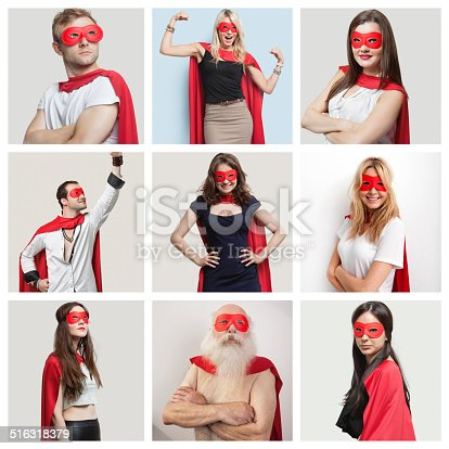 516318379 istock photo Collage of confident people wearing superhero costumes 516318379