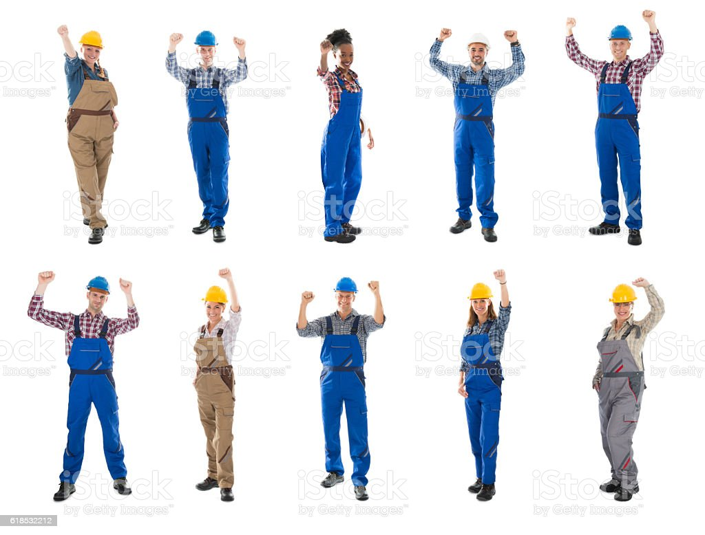 Collage Of Construction Workers Raising Arms stock photo