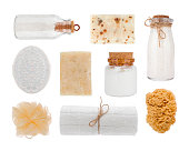 Collage of cosmetic product objects isolated on white background