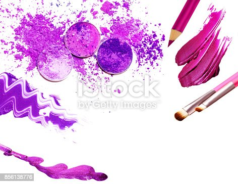 istock Collage of cosmetics for professional make-up isolated on white 856138776