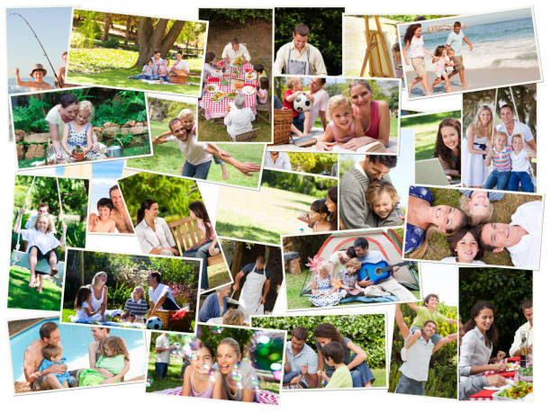 Collage of cute families having fun stock photo