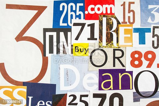 546439664 istock photo Collage of cutted colorful gloss paper with letters and numbers. Looks like posters on billboard. 1190886141