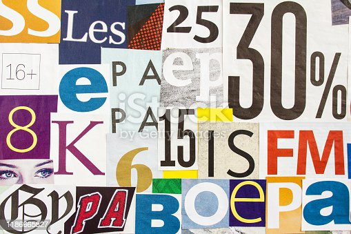 546439664 istock photo Collage of cutted colorful magazine paper with letters and numbers. Looks like posters on street billboard. 1186665827