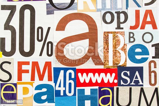 546439664 istock photo Collage of cutted colorful magazine paper with letters and numbers. Creative abstract background. 1188387850