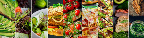 Collage of delicious food and fastfood close-up stock photo