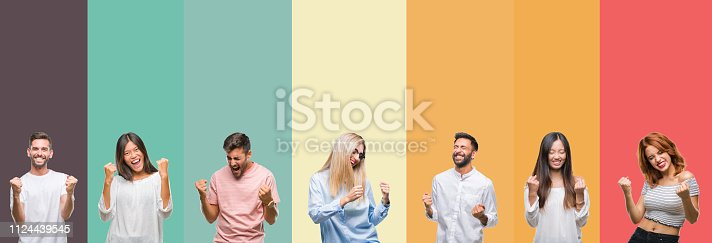 istock Collage of different ethnics young people over colorful stripes isolated background very happy and excited doing winner gesture with arms raised, smiling and screaming for success. Celebration concept. 1124439545