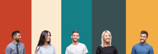 collage av olika etniska ungdomar över färgglada ränder isolerad bakgrund ser bort till sidan med leende på läpparna, naturligt uttryck. skrattar säker. - profile photo bildbanksfoton och bilder