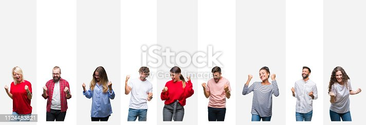 istock Collage of different ethnics young people over white stripes isolated background very happy and excited doing winner gesture with arms raised, smiling and screaming for success. Celebration concept. 1124483821