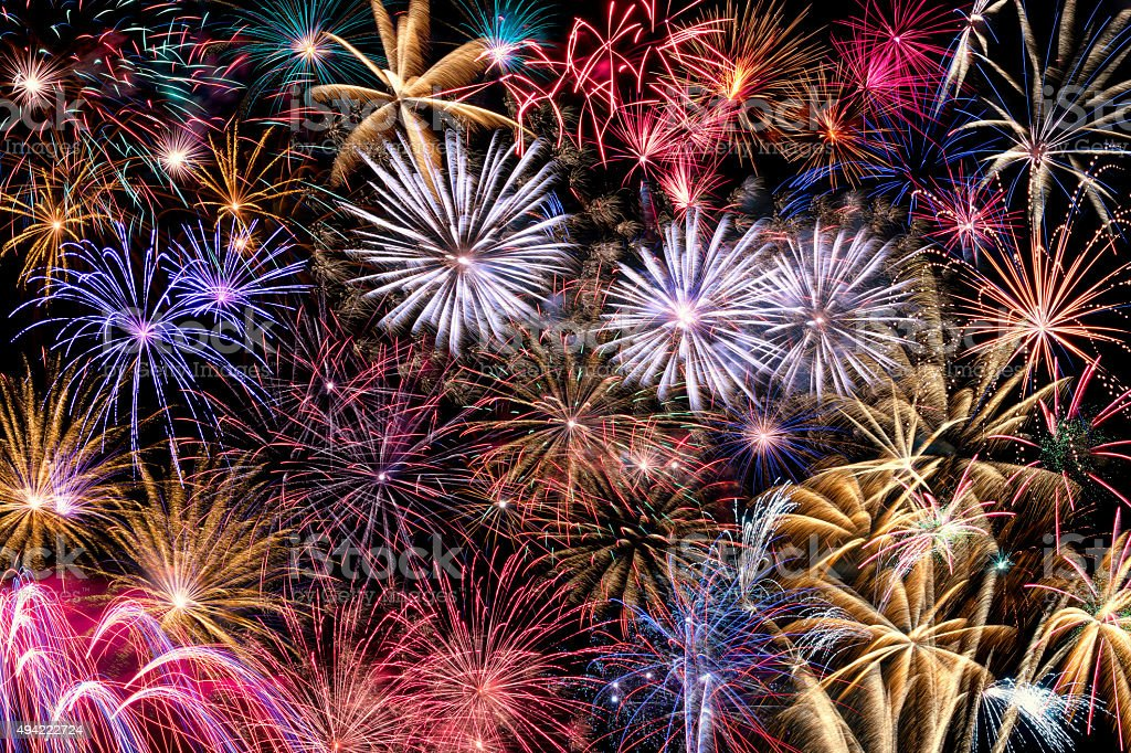 Collage of  different  Fireworks stock photo