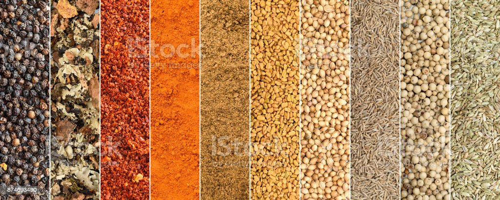 Collage of different herbs and spices stock photo